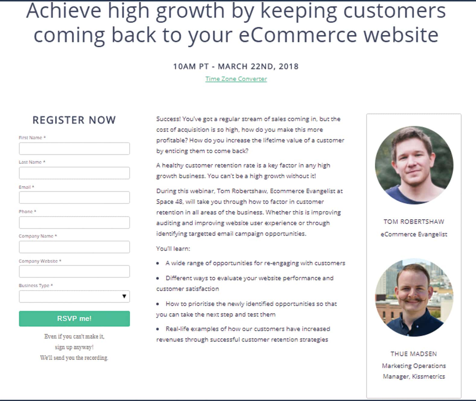 Content upgrade offering a webinar