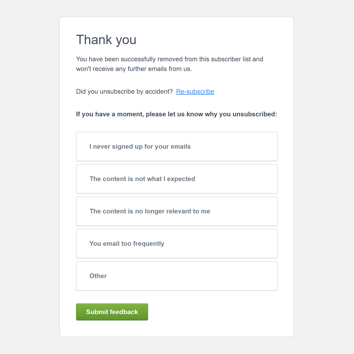 Screenshot of an unsubscribe survey powered by Campaign Monitor