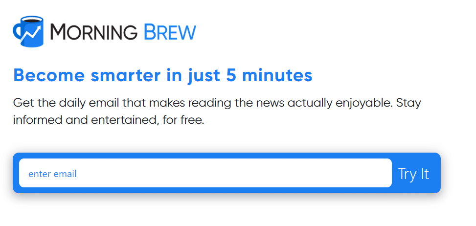 Morning Brew Keeps Form Simple By Asking for Email Address