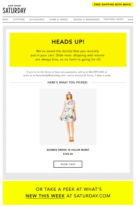 email from brand Kate Spade that shows an item left in a cart