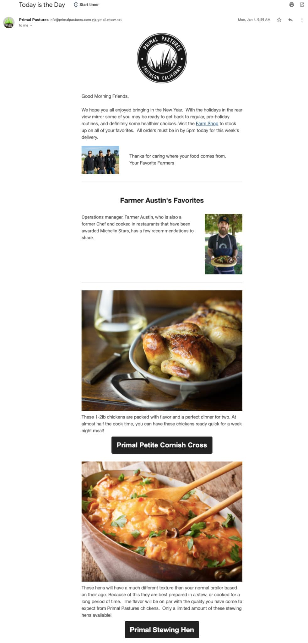 Holiday email from Primal Pastures