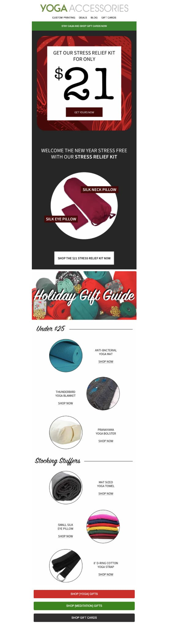 Holiday promotional email from Yoga Accessories