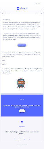 A feedback email from Algolia