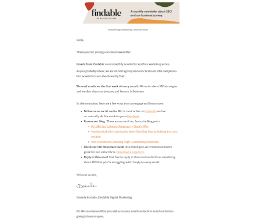 A welcome email from Findable